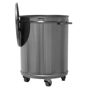 MC1003 Pattumiera carrellata rotonda inox AISI 304 da 100 litri