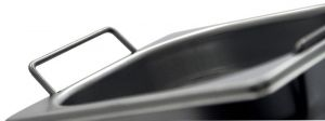 GST1/4P065M Contenitore Gastronorm 1/4 h65 con maniglie in acciaio inox AISI 304