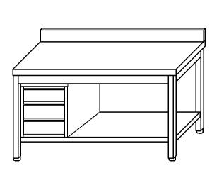TL5190 Tavolo da lavoro in acciaio inox AISI 304 cassettiera sx alzatina ripiano 180x60x85