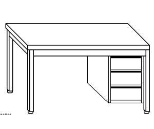 TL5215 Tavolo da lavoro in acciaio inox AISI 304 cassettiera dx alzatina 110x70x85
