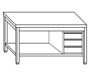 TL5267 Tavolo da lavoro in acciaio inox AISI 304 cassettiera dx ripiano 150x70x85