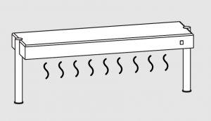 64011.16 Ripiano di appoggio tavoli 1 ripiano caldo 2 gambe cm 160x35x40h