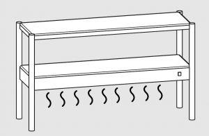 64101.19 Ripiano di appoggio tavoli 1 ripiano sup neutro cm 190x35x70h 1 ripiano inf caldo