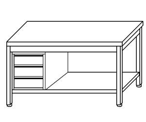 TL5288 Tavolo da lavoro in acciaio inox AISI 304 cassettiera sx ripiano 200x70x85