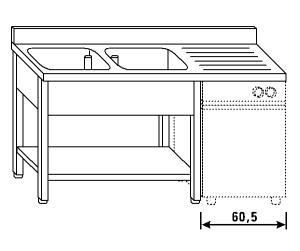 LT1210 Lavatoio su gambe e ripiano per lavastoviglie 2 vasche 1 sgocciolatoio dx alzatina ripiano 160x70x85