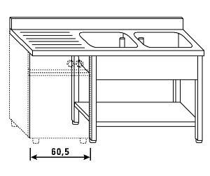 LT1213 Lavatoio su gambe e ripiano per lavastoviglie  2 vasche 1 sgocciolatoio sx alzatina ripiano 160x70x85