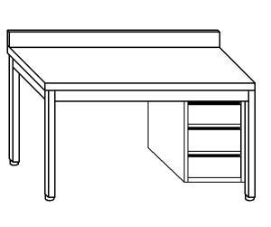 TL5315 Tavolo da lavoro in acciaio inox AISI 304 cassettiera dx alzatina 150x70x85