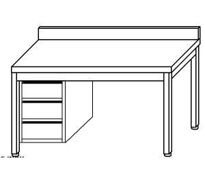TL5335 Tavolo da lavoro in acciaio inox AISI 304 cassettiera sx alzatina 190x70x85