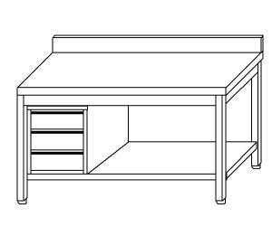TL5383 Tavolo da lavoro in acciaio inox AISI 304 cassettiera sx alzatina ripiano 190x70x85