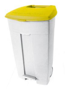 T102036 Contenitore mobile a pedale in plastica bianco-giallo 120 litri (multipli 3 pz)