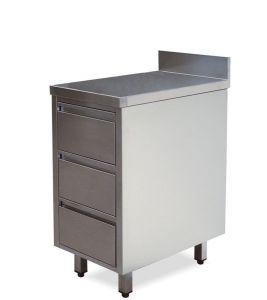CA3003 Cassettiera in acciaio inox 3 cassetti con alzatina 40x60x85