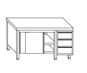 TA4084 Tavolo armadio in acciaio inox con porte su un lato e cassettiera DX 140x70x85