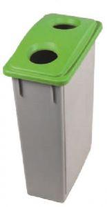T102208 Gettacarte Polipropilene Grigio con coperchio Verde 2 Fori 90 litri