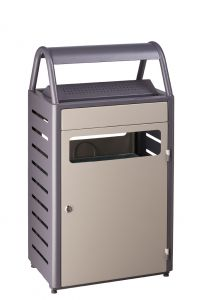 T103015 Gettacarte con posacenere grigio per esterni 50+8 litri
