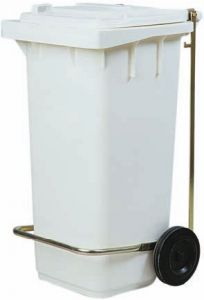 TAV 4674 Portarifiuti polietilene bianco 2 ruote 120 litri PEDALE OPTIONAL