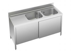 EU01612-16 lavatoio armadio ECO cm 160x60x85h  2 vasche e sg sx - porte scorrevoli