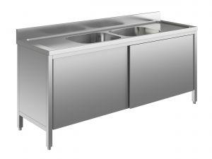 EU01613-19 lavatoio armadio ECO cm 190x60x85h  2 vasche e 2 sgocciolatoi - porte scorrevoli