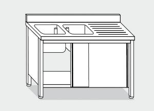 LT1016 Lavatoio su Armadio in acciaio inox 2 vasche 1 sgocciolatoio dx alzatina 200x60x85