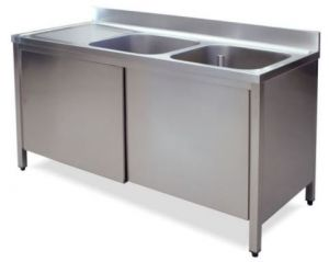 LT1018 Lavatoio su Armadio in acciaio inox 2 vasche 1 sgocciolatoio sx alzatina 160x60x85