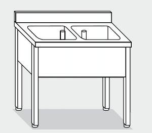 LT1101 Lavatoio su Gambe in acciaio inox 2 vasche alzatina 140x70x85