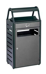 T103016 Gettacarte con posacenere verde/silver 50+8 per esterni