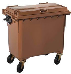 T766644 Contenitore rifiuti da esterno 4 ruote 660 litri MARRONE