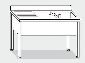LT1111 Lavatoio su Gambe in acciaio inox 2 vasche 1 sgocciolatoio sx alzatina 200x70x85