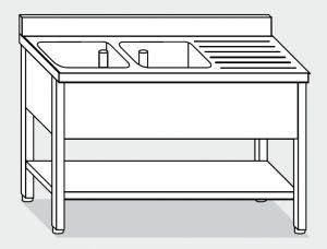 LT1165 Lavatoio su Gambe con ripiano in acciaio inox 2 vasche 1 sgocciolatoio dx alzatina ripiano 160x70x85