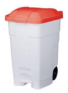 T102547 Contenitore mobile a pedale plastica bianco-rosso 70 litri