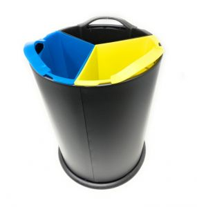 T110561 Gettacarte nero per raccolta differenziata 3 secchi in polipropilene 3x4 litri