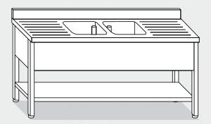 LT1174 Lavatoio su Gambe con ripiano in acciaio inox 2 vasche 2 sgocciolatoi alzatina ripiano 190x70x85