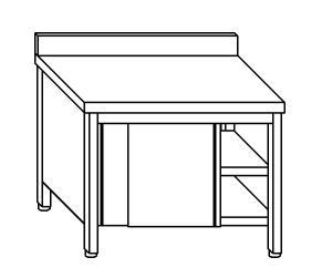 TA4039 Tavolo armadio in acciaio inox con porte su un lato con alzatina 110x60x85