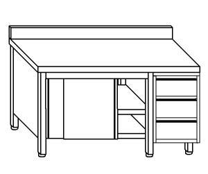 TA4050 Tavolo armadio in acciaio inox con porte su un lato, alzatina e cassettiera DX 150x60x85