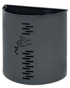 T778051 Gettacarte semicircolare in acciaio grigio per esterno 20 litri