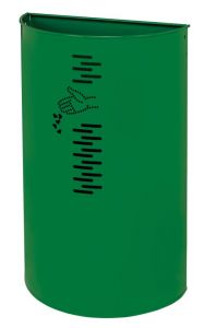 T778062 Gettacarte semicircolare in acciaio verde per esterno 40 litri
