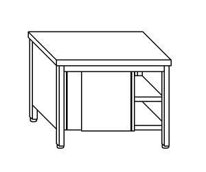 TA4081 Tavolo armadio in acciaio inox con porte su un lato 180x70x85