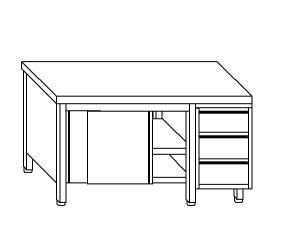 TA4090 Tavolo armadio in acciaio inox con porte su un lato e cassettiera DX 200x70x85