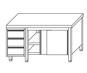 TA4099 Tavolo armadio in acciaio inox con porte su un lato e cassettiera SX 180x70x85