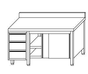 TA4140 Tavolo armadio in acciaio inox con porte su un lato, alzatina e cassettiera SX 240x70x85