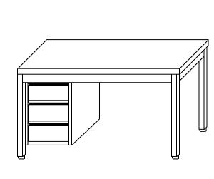TL5130 Tavolo da lavoro in acciaio inox AISI 304 cassettiera sx alzatina 60x70x85