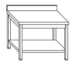 TL5150 Tavolo da lavoro in acciaio inox AISI 304 alzatina ripiano 100x60x85