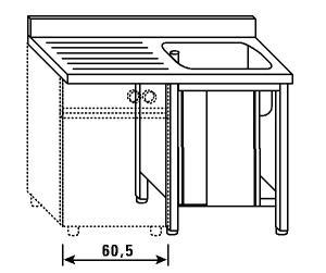 LT1181 Lavatoio su armadio per lavastoviglie 1 vasca 1 sgocciolatoio sx alzatina ante scorrevoli 140x60x85