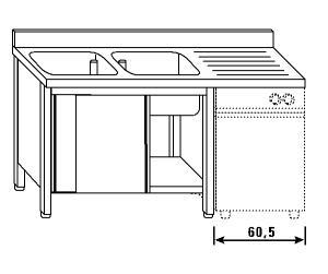 LT1190 Lavatoio su armadio per lavastoviglie 2 vasche 1 sgocciolatoio dx alzatina 160x70x85