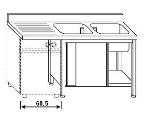 LT1193 Lavatoio su armadio per lavastoviglie 2 vasche 1 sgocciolatoio sx alzatina 160x70x85