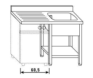 LT1209 Lavatoio su gambe e ripiano per lavastoviglie 1 vasca 1 sgocciolatoio sx alzatina ripiano 140x70x85