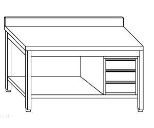 TL5172 Tavolo da lavoro in acciaio inox AISI 304 cassettiera dx alzatina ripiano 160x60x85